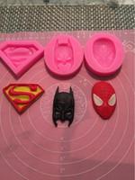 Wholesale Silicone Molds Faces - 3D Silicone Molds Superman Spiderman Batman Sugarcraft Fondant Chocolate Mold Face Silicone Cake Mold Cake Decorating Tools