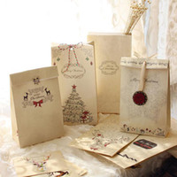 Wholesale Mixed Paper Gift Bags - Wholesale-Merry Christmas kraft paper bag, Gift Bags, Party, Lolly,Favour, Wedding, Packaging 22x12x6cm Mix 30pcs lot