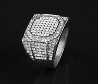 Wholesale square punk rings - top sale Men's Stainless Steel Square Ring Bling Bling Rhinestone Crystal Silver Gold Color Punk Rings Fashion Hip Hop Jewelry drop ship