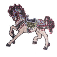 Wholesale Sequin Embroider Fabric - 1piece Pink Sequin Horse Patches Decorated Embroidered Sew on Patches Fabric Motifs Applique Scrapbooking Clothing TH325