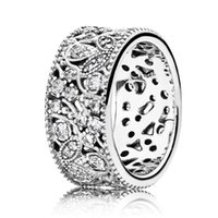 Wholesale Leaves Diy - Authentic 925 Sterling Silver Ring Shimmering Leaves Statement With Crystal Rings Compatible With Pandora DIY Jewelry HRAPD648