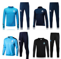 Wholesale Mens Sports Wear Clothing - 2017-18 Top quality Olympique de Marseille soccer Training suit tracksuit long sleeve football training clothes sports wear mens