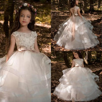 Wholesale Length Champagne Organza Hearts - New Arrivals 2017 Blush Ruffle Tiered Ball Gown Floor Length Flower Girls Dresses For Weddings Lace Beads Heart Back With Bow Sash EN8306