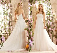 Wholesale Strapless Organza Lace Wedding Dress - 2017 Cheap Vintage Summer Beach Lace Wedding Dresses Strapless A Line Organza Tulle Bridal Gowns Cheap Long Sweep Train Wedding Gowns