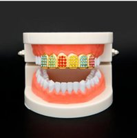 Wholesale Grill Fitting - 2017 free Fit Grillz Iced Out Rhinestone Top Bottom Tooth Caps Hip Hop Teeth Grills Party Body Jewelry