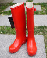 Wholesale Wholesale Woman Boots - Men Women Rain Boots Fashion Knee-high Rainboots Rubber Flat Hill Rainshoes 11 Colors Outdoor Waterproof Shoes