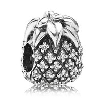 Wholesale Pandora Pineapple - Authentic 925 Sterling Silver Bead Charm Sparkling Pineapple With Full Crystal Beads Fit Women Pandora Bracelet Bangle Jewelry HKA3125