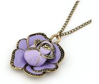 lila blumenliebhaber großhandel-Klassische Malerei Romantische Purple Rose Anhänger Halskette Lover Geschenk Geschenk Schmuck Antik Emaille Blume Charm Halskette