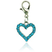 Wholesale Wholesale Valentines Heart - Valentines Gift Charms With Lobster Clasp Dangle Rhinestone Peach Heart DIY Charms For Jewelry Making Accessories