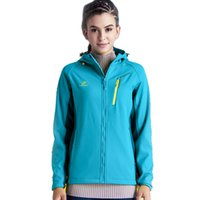 Wholesale Woman Inside Clothes - 2017 New Winter Women Soft Shell Hooded Jackets Outdoor Sport Clothing Waterproof Thermal Camping Ski Inside Fleece Coats E003