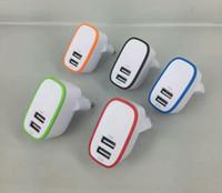 anillo de manzana inteligente al por mayor-Color Ring Pattern Dual USB Puerto Cargador de pared 1A EU EE. UU. ENCHUFE Adaptador IC Protect para teléfono inteligente almohadilla 100pcs