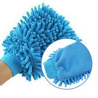 tuchreinigungshandschuhe großhandel-Großhandels-Auto Microfiber Fahrzeug-Selbstreinigungs-Handschuh-Wäsche-Handschuh-Stoff-waschender Handschuh-Bürste PINK BLAUe Farben-Handschuhe