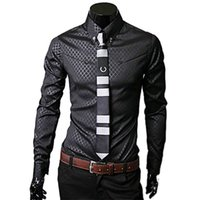 Vente en gros - Hommes Formal Business Chemises Hot New Fashion Homme Luxe élégant Slim Fit Long Sleeve Casual Dress Shirt Camisa Masculina