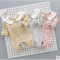 Wholesale Boys Baby Doll Clothing - Newborn romper toddler kids stripe cartoon printed romper Infant lapel doll collar long sleeve jumpsuits baby boy girl autumn clothes T4604