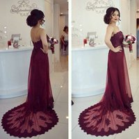 Wholesale Open Back Summer - 2017 New Cheap Sexy Lace Appliques Strapless Burgundy Long A-Line Prom Dress Summer Open-Back Court-Train Evening Party Gowns Custom Made