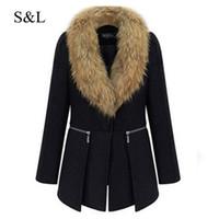 Wholesale Collor Fur - Wholesale- 2016 Womens Winter Warm Woolen Coats Europe Style Black Overcoat Outerwear With Big Fur Collor Plus Large Size Overoats XL - 6XL