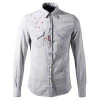 erkek kot gömlek toptan satış-Artı Boyutu 3 XL Kot Gömlek Erkekler Slim Fit Boyalı Denim Pamuk Açık Mavi Gömlek Erkek Marka Tasarım