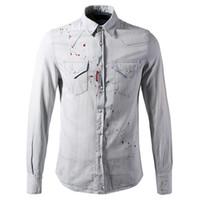 Wholesale Boys Denim Shirts - Plus Size 3 XL Jeans Shirt Men Slim Fit Painted Denim Cotton Light Blue Shirts Boy Brand Design