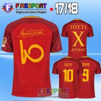 Wholesale X Men 16 - TOTTI Soccer Jerseys 16 17 18 MAGLIA GARA HOME CAPITANO Maillot De Foot 2017 Francesco Aeterno X Dzeko Calcio Serie Football Shits