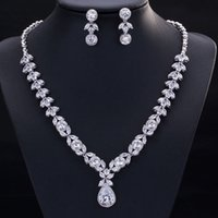 Wholesale Brilliant Necklace - High quality competitive price platinum plated brilliant AAA CZ drop wedding necklace and earring set for women