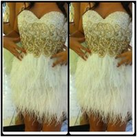 Wholesale Shinny Beads - White Feather Cocktail Dresses with Shinny Beads Sweetheart A Line Short Mini Party Dress 2017 Beautiful Short Prom Homecoming Gowns