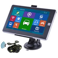 Wholesale rear camera bluetooth - HD 7 inch Car GPS Navigation Touch Screen 800Mhz+Waterproof Night Vision Wireless Rear View Camera With 8GB New Maps