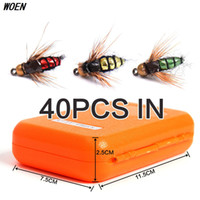 Wholesale Bait Boxes - WOEN High simulation Flies Lure Fly hooks Bionic fly fishing hook Anchor 40 pcs   box Baits & Lures