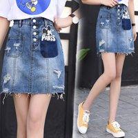 Wholesale Short Blue Skirt Cartoon - 2017 New Fashion Girls Skirt Denim Skirts with Mickey Mouse Cartoon Jeans hole Skirt Cowboy Skirts Short Mini Dress