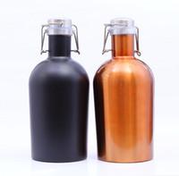 ingrosso pentola fredda-Bottiglia di birra fredda del whisky dell'oscillatore della birra del coltivatore dell'acciaio inossidabile di 3 colori 64oz con la pentola 30pcs del boccetta dell'anca del coperchio