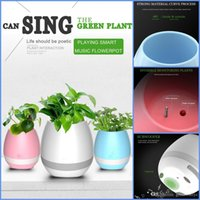 ingrosso mini vasi verdi-Creativo Smart Bluetooth Altoparlante Music Flower Pots Home Office Decorazione Verde Pianta Musica Vaso Musica Verde Pianta Touch con luce notturna