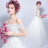 Wholesale Simple Elegant Cheap Ball Gowns - 2017 Cheap Ball Gown Bateau off Shoulder Lace Appliques A-Line Sweety Simple Wedding Dress Country Garden Sweep Train Elegant Bridal Gown