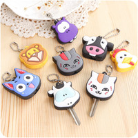 Wholesale keys caps covers - Silicone Keys Cap Women Bag Lovely Animal Shape Keychain Originality Key Cover For Novelty Jewelry Gift 0 65tg C R