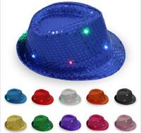Wholesale Hip Hop Jazz - 30pcs LED Jazz Hats Flashing Light Up Led Fedora Trilby Sequins Caps Fancy Dress Dance Party Hats Hip Hop Lamp Luminous Hat G095