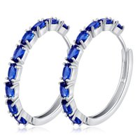 Wholesale White Gold Loop Earrings - Top Quality White Gold Color AAA+ Cubic Zirconia CZ Loop Circle Hoop Earrings for Women Fashion Party Jewelry Festive Gift
