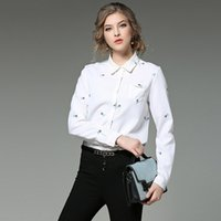Wholesale White Work Shirts For Women - 2017 New Spring Long sleeved White Shirt Blouse Women Lapel Embroidered Work Shirts Women office Tops Blouse for business
