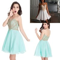 Wholesale Girls Chiffon Dresses Straps - 2017 Cheap Fuchsia Chiffon Homecoming Dresses Gold Lace Applique Sweetheart Short Cocktail Dresses Junior Girls Party Dresses