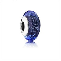 Wholesale Oval Crystal Glass - 2017 new 100pcs lot alloy Blue cut glass beads gem crystal silver beads DIY bracelet accessories Jewelry For Women wholesale Free shipping