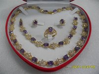 Wholesale Yellow Gold Jewellery Sets - favorite gift women's jewellery amethyst yellow gold 18k necklace set