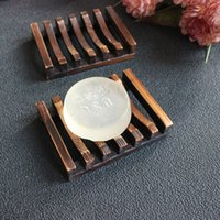 Wholesale Wholesale Shower Wash - 10pcs Vintage Wooden Soap Dish Plate Tray Holder Wood Soap Dish Holders Bathroon Shower Hand Washing