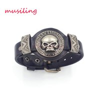 Wholesale wholesale celtic watch - Leather Bracelets Charms Skull Watch Band Design Adjustable Bangle Punk Rock Hiphop Decorations Reiki Amulet Jewelry
