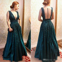 Wholesale Short Dresess - Elie Saab 2017 Hunter Green Formal Celebrity Prom Dresess Illusion Back Deep V Neck Floor Long With Belt Sash Evening Special Occasion Gown