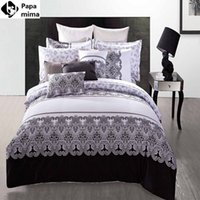 хлопок одеяло оптовых-Wholesale-  black and white bedding sets 4pcs 100% cotton duvet bed quilt covers comforters bedclothes for king queen full size sheet