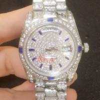 ver diamantes personalizados al por mayor-Barrido de la mano Icedout Diamantes grandes por encargo Oro Presidente de lujo Día-Fecha Reloj Hombres Relojes de diamantes completos Relojes automáticos
