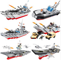 Hsanhe Warship Series Modelo de portador de aeronaves Building Blocks Missile Destroyer Nuclear Submarine Bricks Estilos Naval Ship
