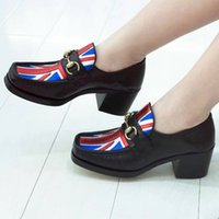 Wholesale Low Heel Formal Shoes Women - Black Low heels Genuine leather Black Pumps Chians Square toe Ladies Single Solid Shoes Slip on Women Summer Loafers Formal Business Shoes
