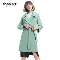 Wholesale Mint Green Coat - Cheerart 2017 Winter Coat Women Long Wool Coat With Belt Mint Green Red Pink Khaki Overcoat Ladies Winter Coat Female