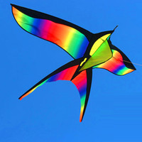 Wholesale Bird Kites - Wholesale- 172CM Colorful Swallow Kite Beautiful Rainbow Kite Color Bird Kites Easy Control Flying With Handle Line Children Present Gift