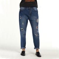 Wholesale Torn Jeans Women Plus Size - Wholesale- Freddie Haren - 2017 women's motorcycle plus size wide leg denim trousers torn loose hole fashion woman disguised Pantalon jeans