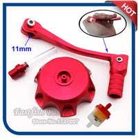 Wholesale Dirt Bike Fuel Filter - Wholesale- Red Gear Shifter Lever& Gas Fuel Tank Cap Cover & Fuel Filter For Chinese 50cc - 160cc Pit Dirt Bike