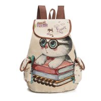 Wholesale Kids Bags Sale - DHL 20pc lot Hot Sale Cute Cats Canvas Shoulder Bag Jacquard Embroidered Kids Teenager Girls Backpack School Bags
